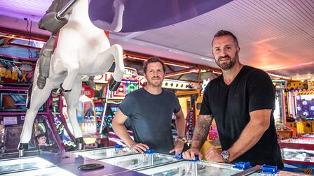 Johnny and Charlie Manning manage a Felixstowe amusement arcade Picture: SARAH LUCY BROWN
