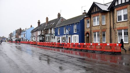 Aldeburgh High Street was one of the first to see social distancing bollards installed Picture: CHAR
