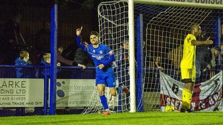 Cemal Ramadan celebrates purting Bury Town 1-0 up against Nuneaton Borough in the FA Cup. Picture: N