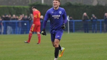 Leiston keeper Sam Donkin, who was the hero of a penalty shoot-out 9-8 win over AFC Telford United i