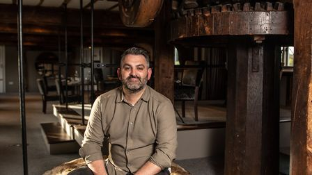 Tuddenham Mill chef patron Lee Bye in the hotel that has been rated one of the quirkiest in the country Picture: SARAH LUCY ...