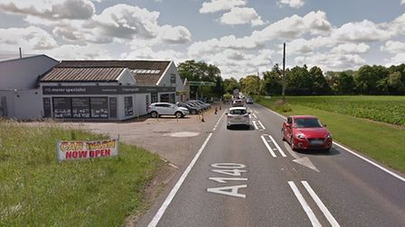 The A140 in Brockford, Picture: GOOGLE