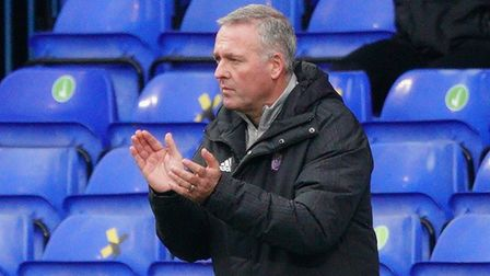 Town manager Paul Lambert applauds from the touchline.Picture: Steve Wallerwww.stephenw