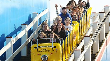 People enjoying the weather and the rides at the Pleasure Beach as it opens for the first day of the