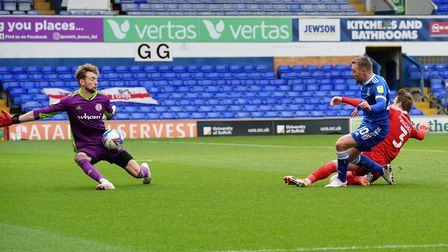 A first half chance for Freddie Sears is blocked by Accrington Stanley keeper Toby Savin. Photo: St