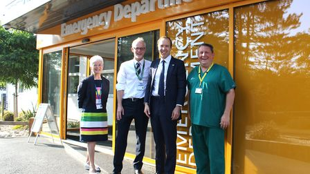 Health secretary Matt Hancock, pictured here with the leaders of West Suffolk Hospital including chi