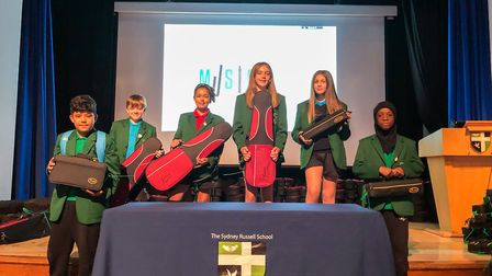 Sydney Russell pupils with their instruments. Picture: The Sydney Russell School