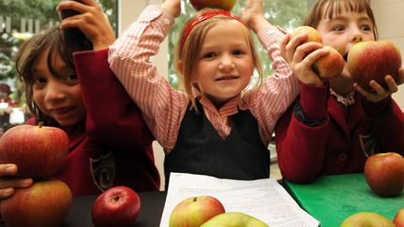 Ipswich High School pupils at an a Apple festival at the Suffolk Food Hall, Wherstead, in 2010 Pictu