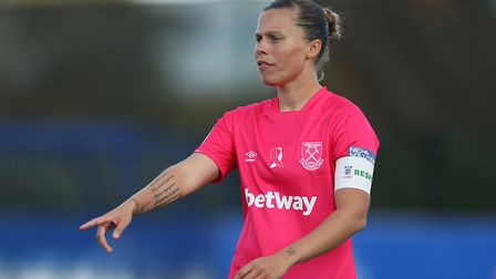 Gilly Flaherty of West Ham United Women reacts during the Barclays FA Women's Super League match bet