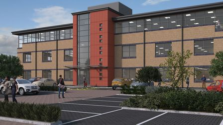 An artist's impression of how the new building at The Oaks Business Park in Newmarket will look. Pic
