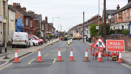 Foxhall Road in Ipswich is closed until the end of the month Picture: CHARLOTTE BOND