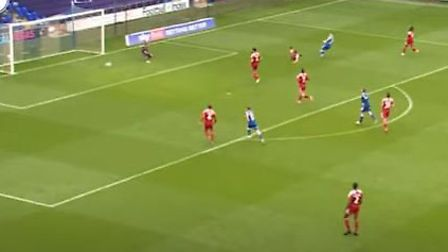 Gwion Edwards opens the scoring for Ipswich Town in their 2-0 win over Accrington Stanley yesterday