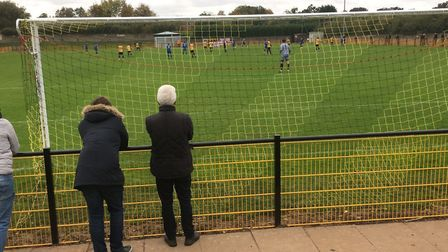 Looking through the net during this afternoon's FA Trophy clash between Loughborough Dynamo and Bury