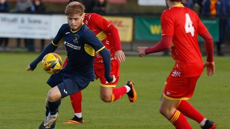 Callum Page, who scored a brace in Needham Market's 3-0 home win over Bromsgrove Sporting. Picture: