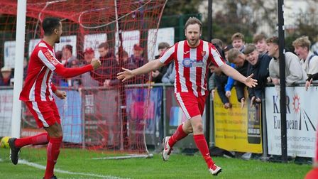 Sam Nunn celebrates scoring against Westfield in the FA Trophy. Nunn netted twice in a 5-0 home win.