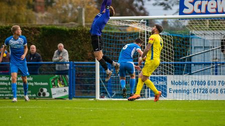 Leiston keeper Sam Donkin makes a crucial save for Leiston, but the Suffolk club went down 4-1 at ho