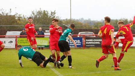 Callum Page fires home his first goal during Needham Market's 3-0 home win over Bromsgrove Sporting.
