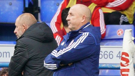 Accrington Stanley boss John Coleman pictured during his side's 2-0 defeat at Ipswich Town. Picture:
