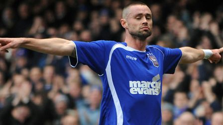 Damien Delaney celebrates scoring against Sheffield United in early 2011, one of only three goals he