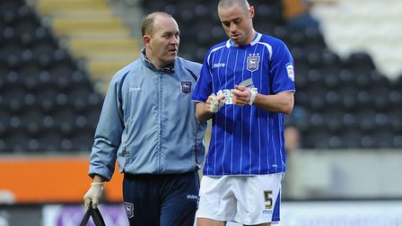 Danien Delaney hobbles off with an injury during his days at Ipswich Town. This one was in an FA Cup