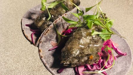 Review, The Kings Arms Haughley: Blue corn tortillas with squid ink battered pollock, cured cabbage,