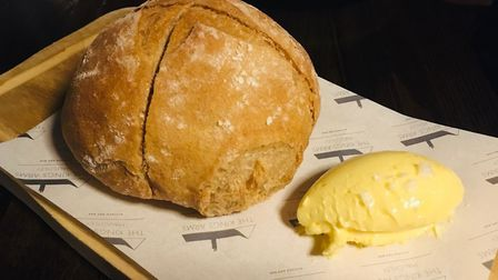Review, The Kings Arms Haughley: Homemade pain de campagne bread with whipped butter