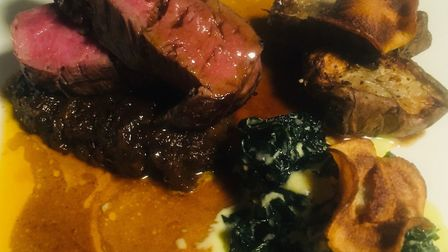Review, The Kings Arms Haughley: Beef fillet with braised shin of beef, creamed kale and Jerusalem a