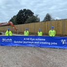 Councillors from both sides of the county border joined MP Dr Dan Poulter at the roadworks at Brome. Pictured are Norfolk...