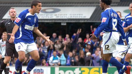 Pablo Counago, left, celebrates his Town equaliser against Swansea City from October, 2009, with tea