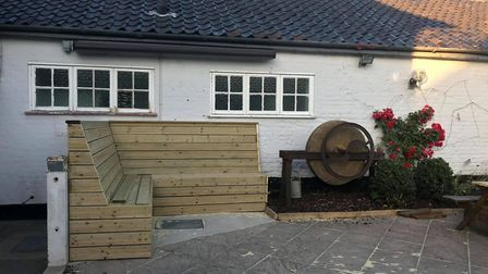A new bench was part of the work to landscape the pub garden during lockdown. Picture: THE RAILWAY INN