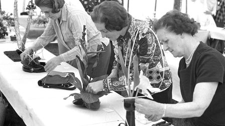 Flower arranging at the Hadleigh Show in May 1974 Picture: ARCHANT