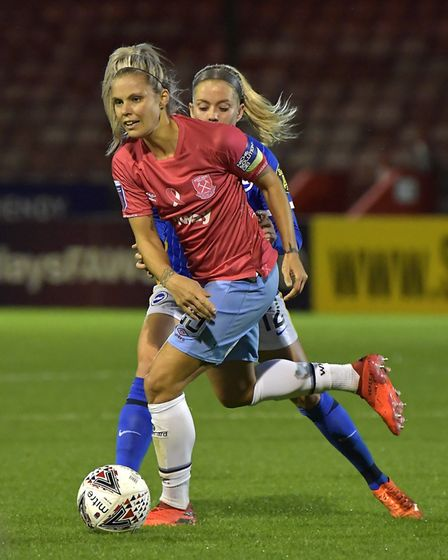 Rachel Daly of West Ham United in action during the FA Women's Continental League Cup match Between