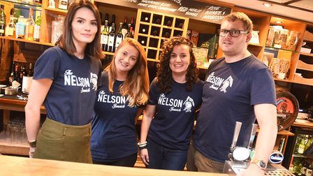 Owner of The Marlborough pub in Dedham, Tom West, pictured with his staff at the Lord Nelson in Ipsw
