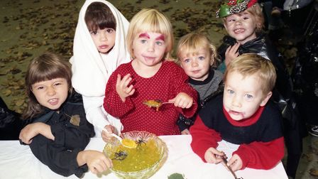 Children of Landseer Playgroup in Ipswich enjoying their Halloween party in 1991 Picture: ARCHANT