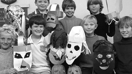 Leiston Cubs make Halloween masks in October 1981 Picture: ARCHANT