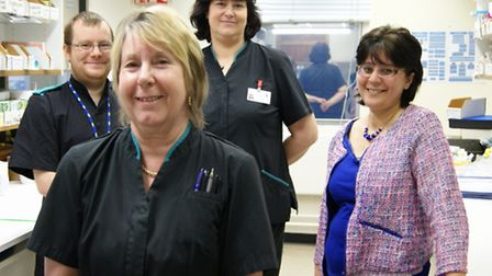 L to R, back: Ben Coley, Pharmacy Technician; Anita Franklin, Dispensary Services Manager; Dr Mojga