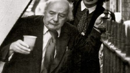 The late Sir John Betjeman with a younger Dan Cruickshank touring Spitalfields in 1965 to save Hugue