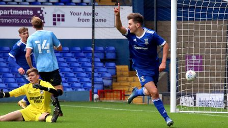 Alfie Cutbush celebrates his goal against Southend United in the FA Youth Cup at Portman Road Pictur