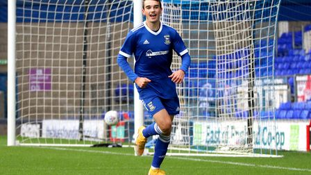 Liam Gibbs celebrates his goal against Southend United in the FA Youth Cup at Portman Road Picture: