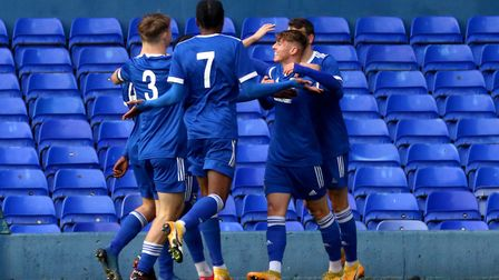 Town players celebrate Harley Curtis' opening goal against Southend United in the FA Youth Cup at Po
