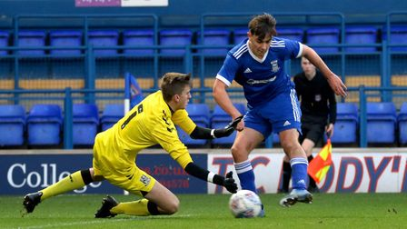 Alfie Cutbush scores his second goal of the game against Southend United Picture: Ross Halls