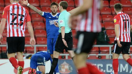 Ipswich Town's Luke Chambers screams at the referee during the second half at Sunderland last night.
