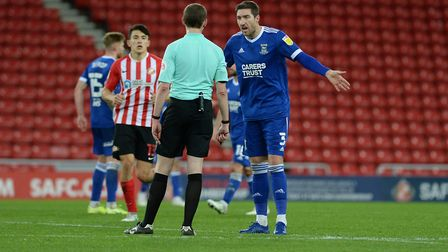 Stephen Ward remonstrates with the referee after he awarded a late second half penalty against Ipswi