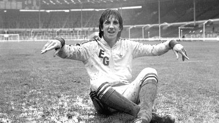 Paul Mariner on the soaking wet Wembley turf during pre-match training. Picture: OWEN HINES/ARCHANT
