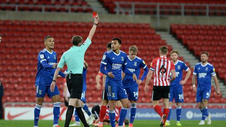Andre Dozzell is shown the red card for his foul on Grant Leadbitter at Sunderland Picture Pagepix L