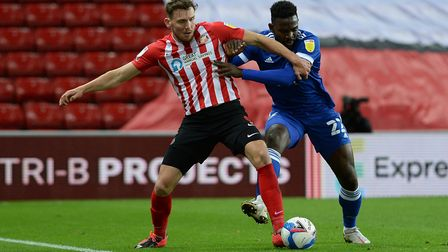 Toto Nsiala tussles for the ball at Sunderland Picture Pagepix Ltd