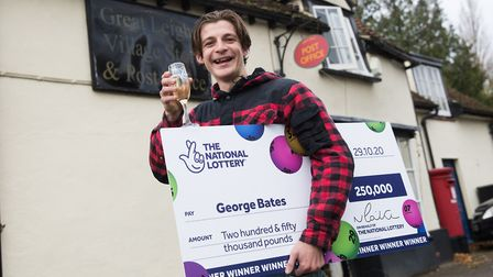 Digger driver George Bates, of Great Leighs in Essex, who won £250,000 on a Lottery scratchcard. Picture: National...