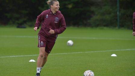 West Ham women captain Gilly Flaherty in training (Pic: Arfa Photography)