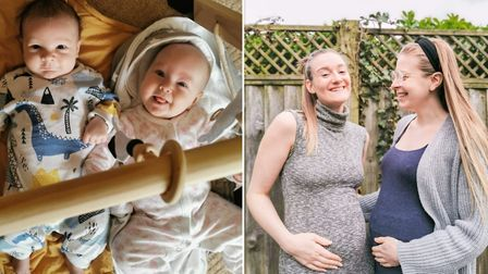 L/R: Lauren and her sister Evie are able to see each other and their newborns Ethan and Delilah outdoors throughout this...