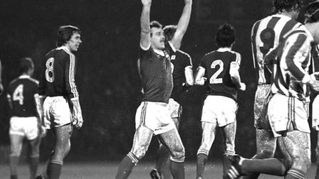Kevin Beattie, celebrating his wonderful free-kick in the 3-0 win over Bohemians in the home leg, we